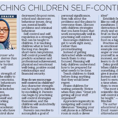 teaching children self control