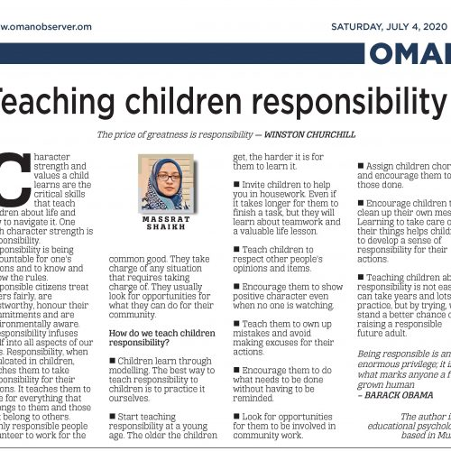 Teaching childres responsiblity