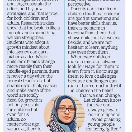 DEVELOPING THE GROWTH MINDSET IN CHILDREN