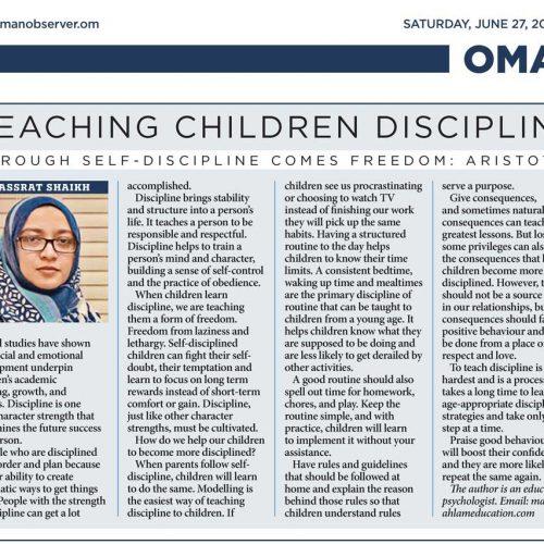 TEACHING CHILDREN DISCIPLINE
